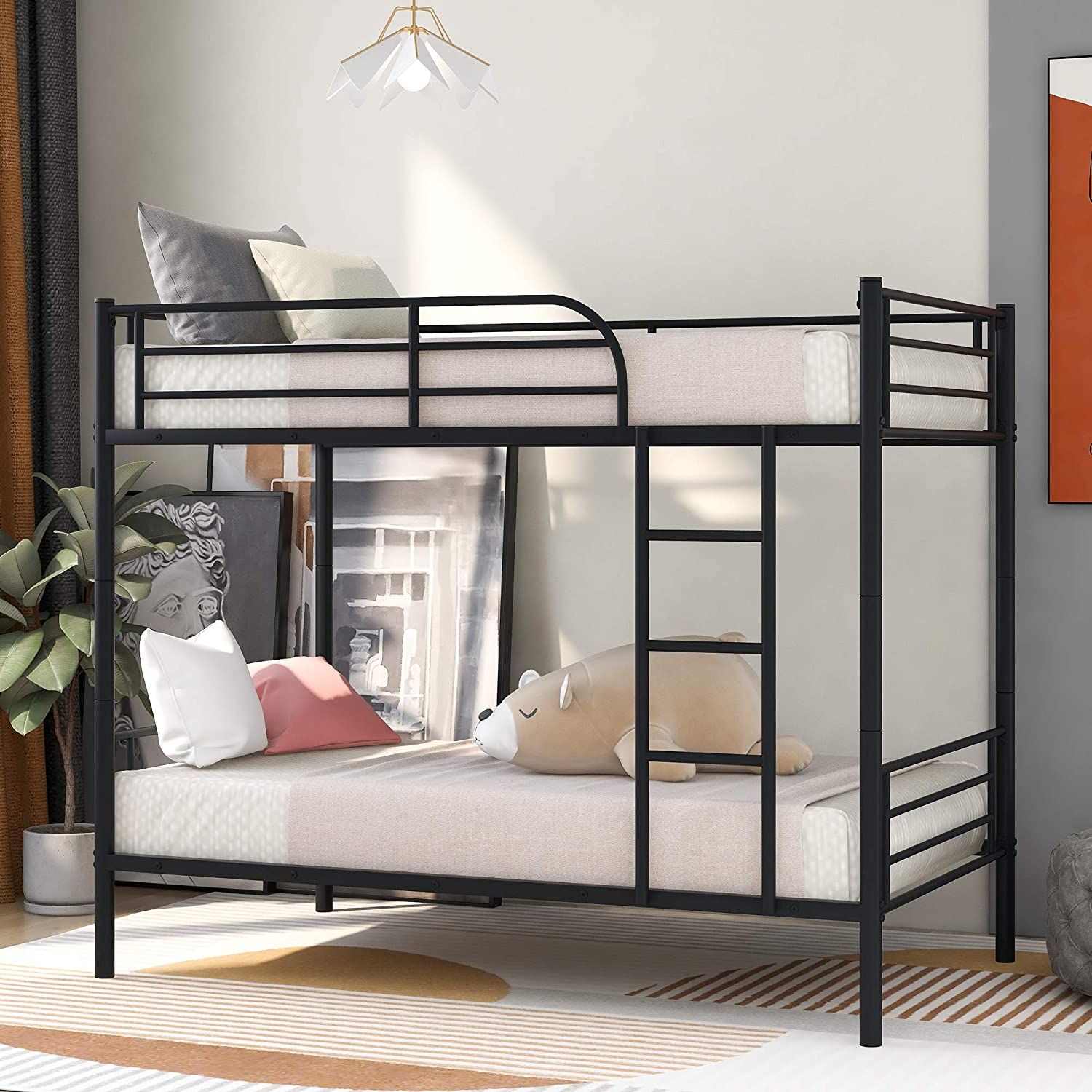 Merax Twin Over Twin Metal Bunk Bed With Removable Ladder Black Kitchen Dining