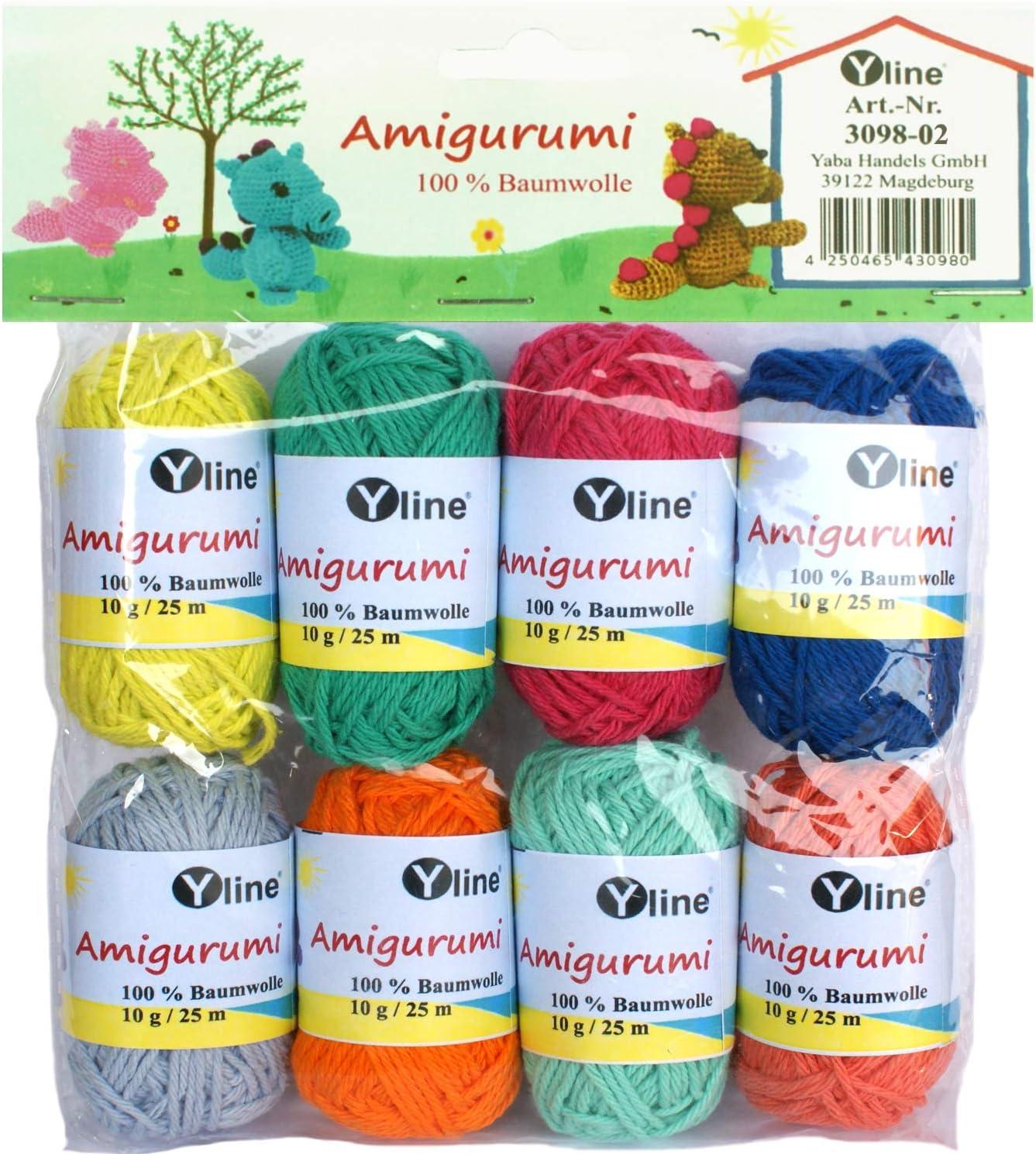 Yline Juego de ovillos de Lana Amigurumi 10 g, 100% algodón, Hilo, Lana de Punto, Hilo de Ganchillo, 3098-02: Amazon.es: Hogar