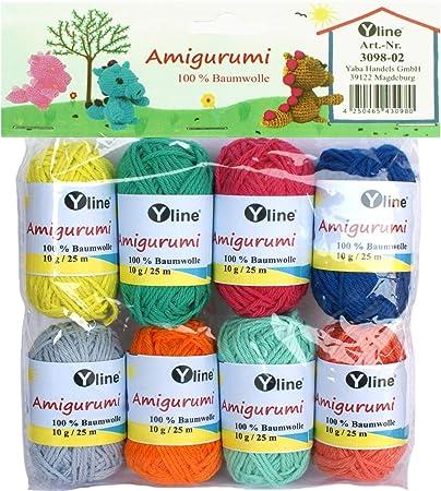 Yline Juego de ovillos de Lana Amigurumi 10 g, 100% algodón, Hilo ...