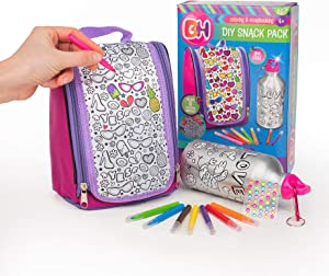 Color Your Own Lunch Bag and Water Bottle for Girls, Design and Decorate Your Purse, Coloring Art & Crafts for Kids, DIY Gifts Age 6+