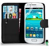 POUR Samsung Galaxy S3 Mini - SHUKAN® Prime Cuir NOIR Portefeuille Cas Coque Couverture avec Rétractable Toucher Style Stylo VERT Cap Protecteur d'écran & Tissu de polissage