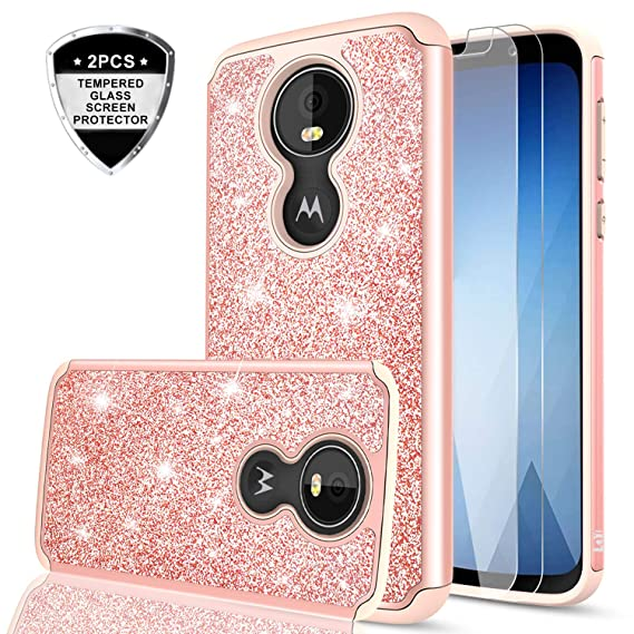 6dcd35133a7 Moto G7 Play Case with Screen Protector for Girls Women,LeYi Glitter  Sparkly Bling Dual