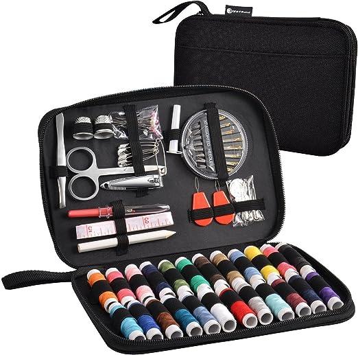 Juego de costura de Nestron con 90 accesorios y estuche de tela Oxford de alta calidad para principiantes o para viajes, kit de costura (negro): Amazon.es: Hogar