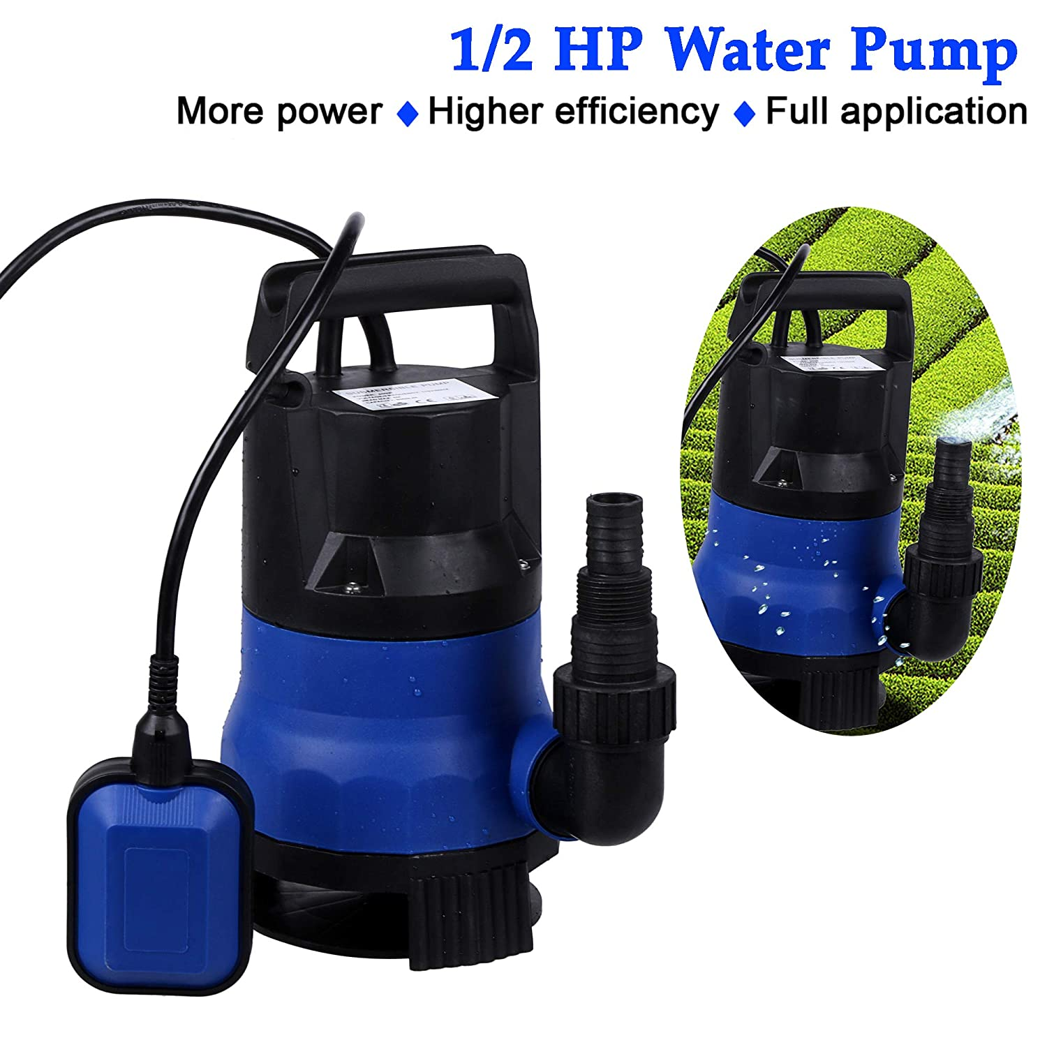 1 HP Sump Pumps Submersible Transfer Water Pump Electric Pool Pump Flood Drain Garden Pond Water Pressure Pump Automatic ON//OFF