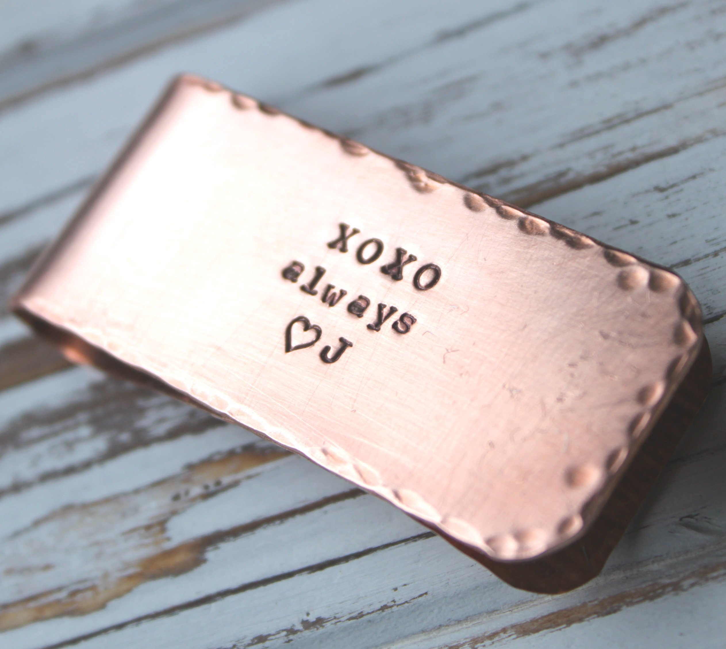 FREE SHIPPING. Hand Stamped Money Clip. Credit Card Holder. Copper or Silver Aluminum. Personalized Custom - Groomsman. Fathers Gift