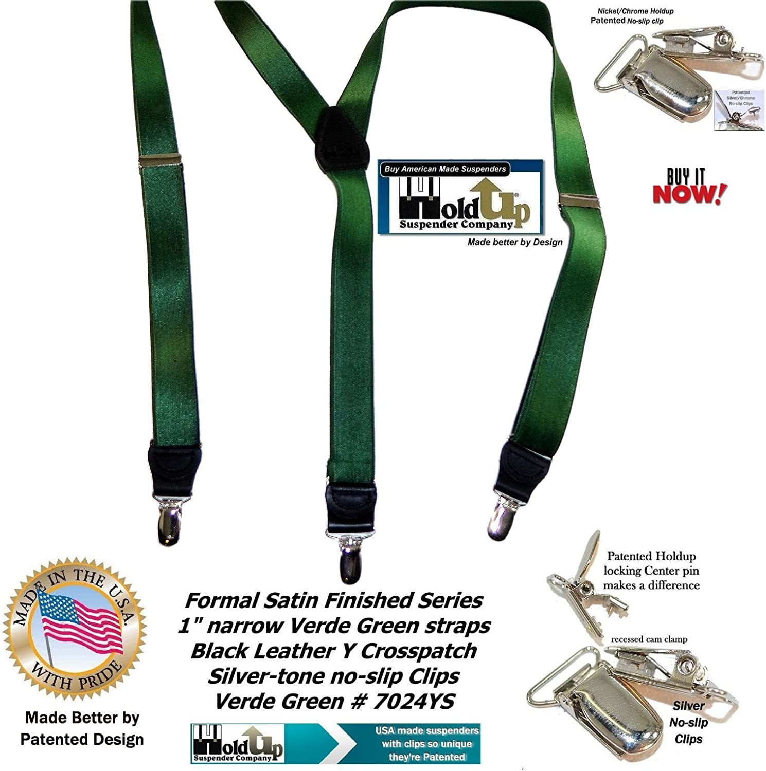 Holdup Suspender Brand dark Verde Green narrow satin finish Y-back suspenders with exclusive patented no-slip Silver Clips