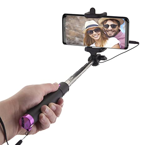 Power Theory Palo Selfie Stick con Cable para Teléfonos Móviles - Compatible con iPhone XS Max/XR/X/8/7/6S/SE y Samsung Galaxy S10/S9/S8/S7/S6, No ...