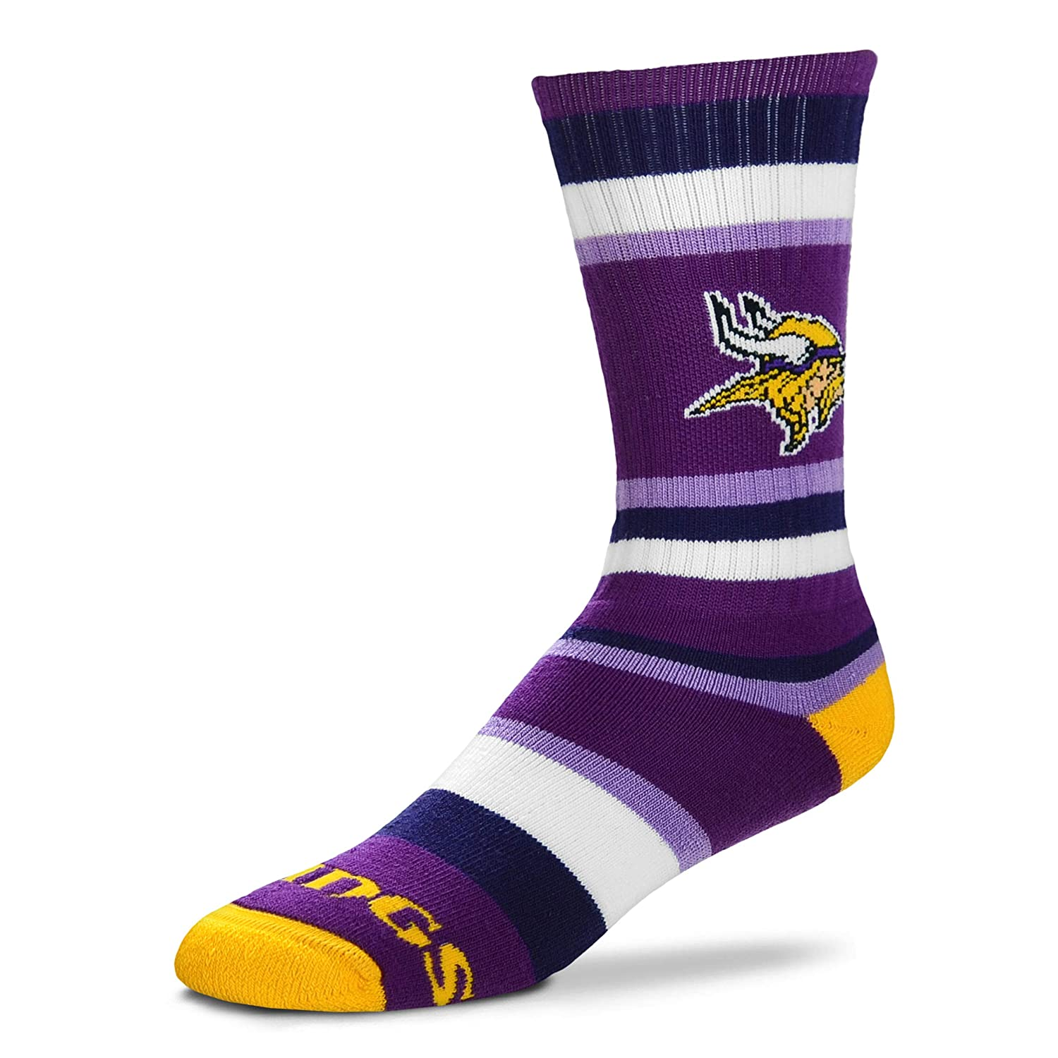 For Bare Feet NFL Rainbow Stripe Crew Socks Minnesota Vikings