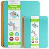 Simply Genius (8 Piece) Extra Thick Cutting Boards for Kitchen Prep, Non Slip Flexible Cutting Mat Set, Dishwasher Safe, BPA