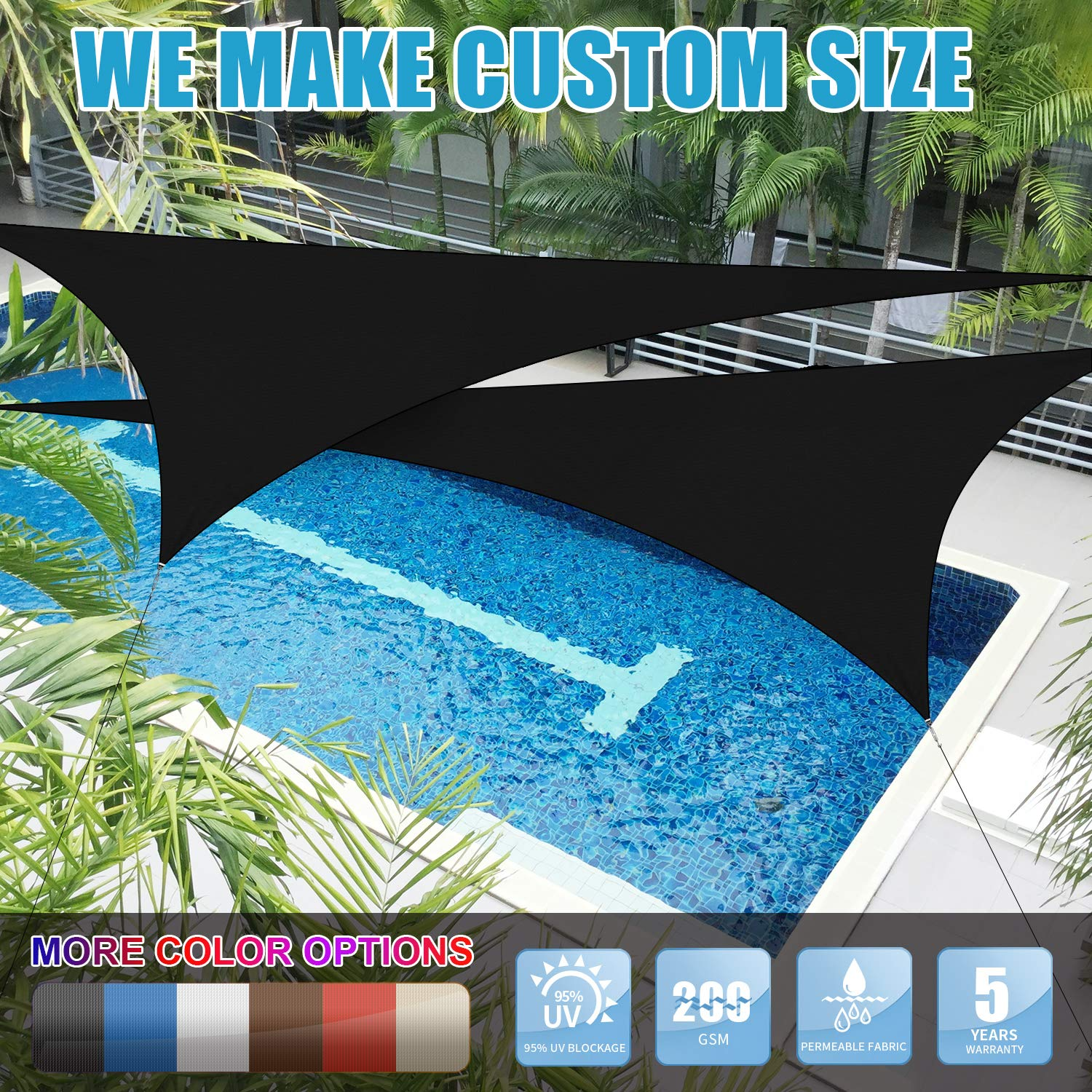 for Patio Yard Pergola Water /& Air Permeable 95/% UV Blockage Commercial and Residential 5 Years Warranty Amgo 12 x 16 Grey Rectangle Sun Shade Sail Canopy Awning Available for Custom Sizes
