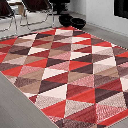 UN AMOUR DE TAPIS - tapis salon bc triangle rouge, orange, beige, marron,  blanc - 160 x 225 cm - tapis scandinave 4539