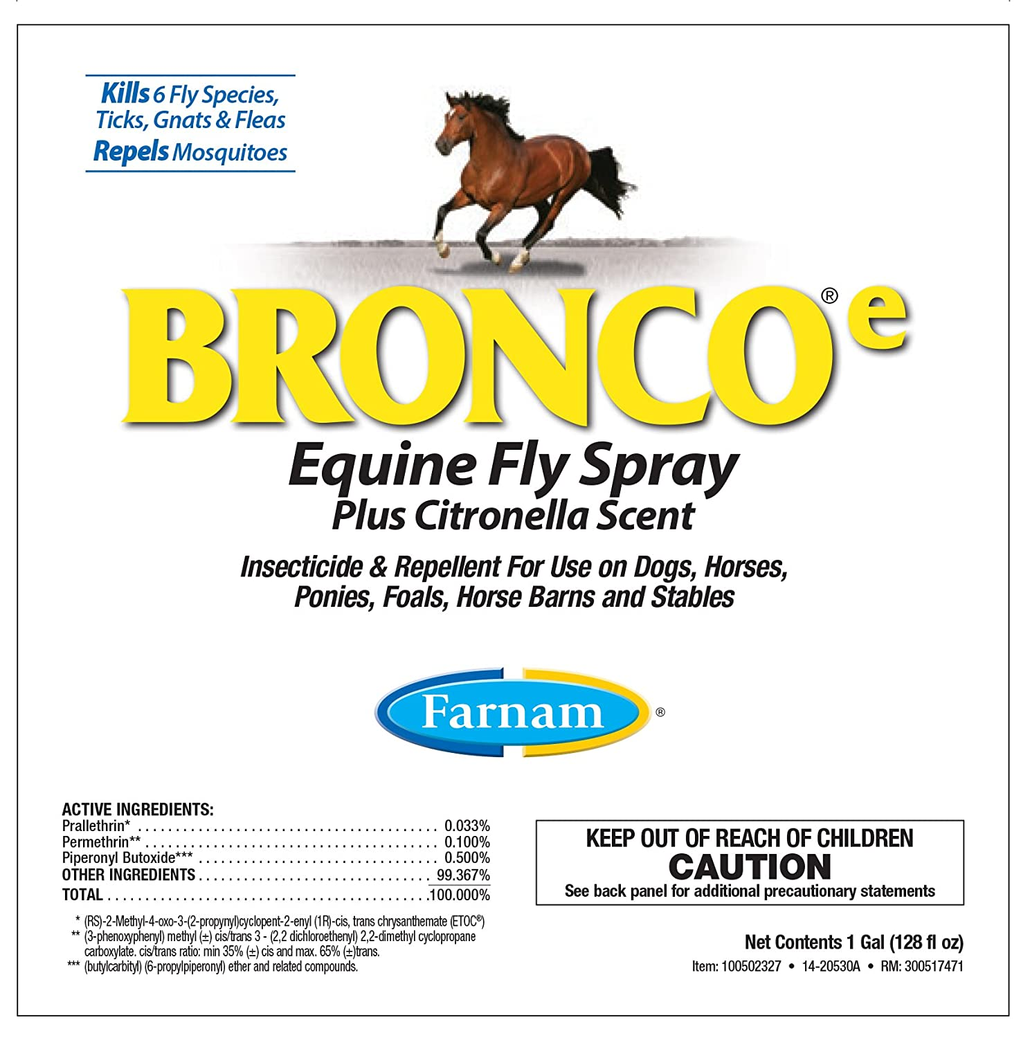 amazon com farnam bronco e equine fly spray plus citronella