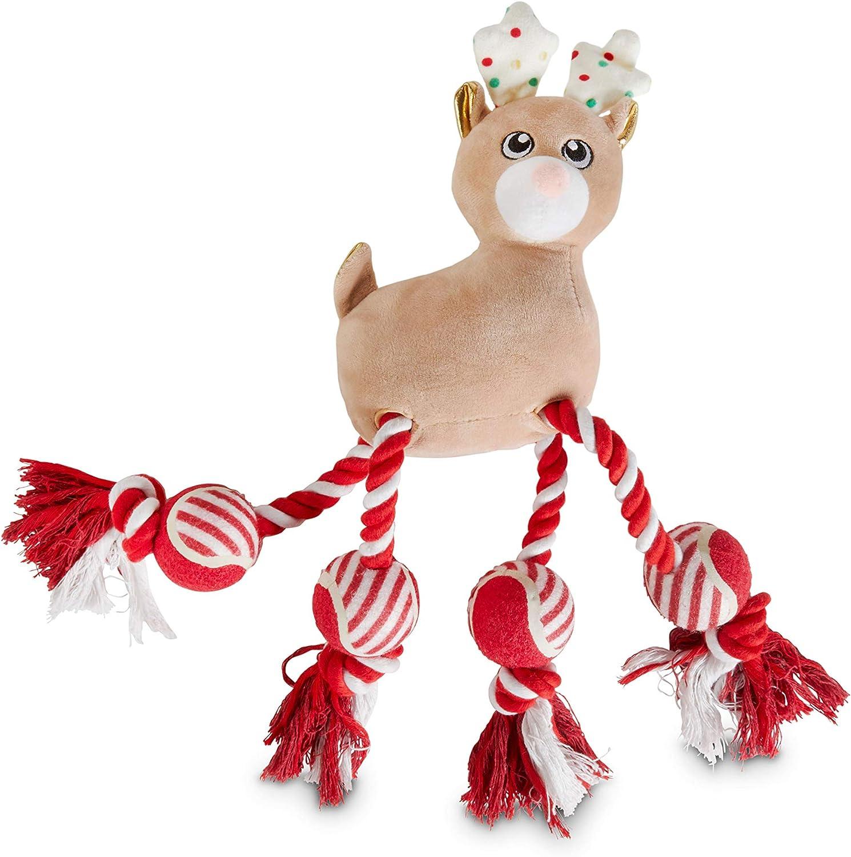 Holiday Tails Santa's Sidekick Plush & Rope Dog Toy with Squeaker, Large