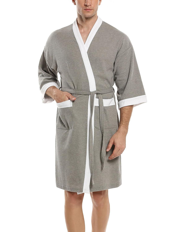 HOTOUCH Herren Bademantel Morgenmantel Nachtwäsche Kimono Saunamantel mit Taschen und Bindegürtel aus Baumwolle GMK005074