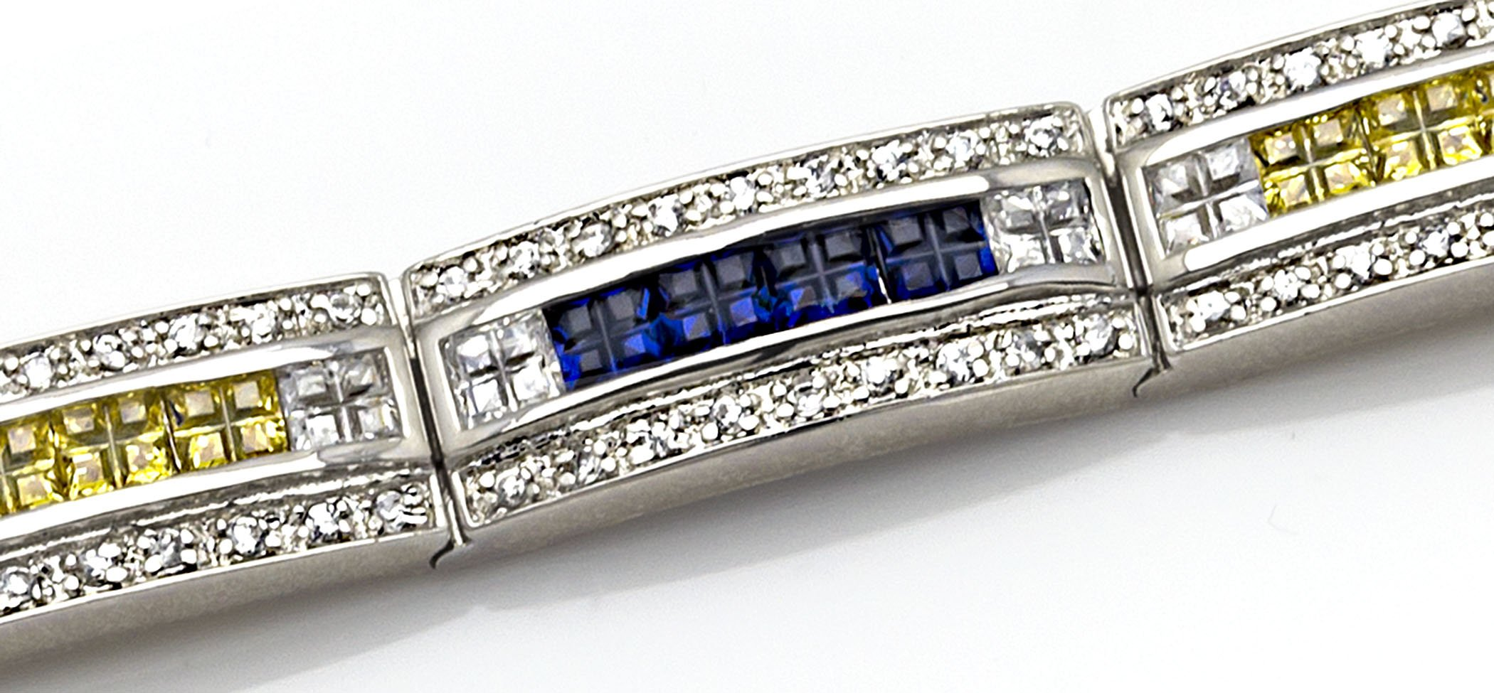 Men's Sterling Silver .925 Bracelet with Canary Yellow, Azure Blue and White Cubic Zirconia (CZ) Stones, Box Lock, Platinum Plated. 8'' or 9'' By Sterling Manufacturers by Sterling Manufacturers (Image #5)