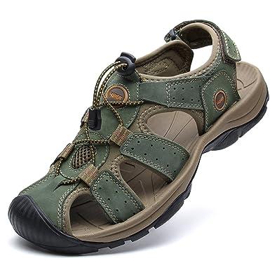 135b87d35252 YoCool Mens Fisherman Sandals Leather Closed Toe Casual Beach Water Sandal  Khaki 1365 KA-