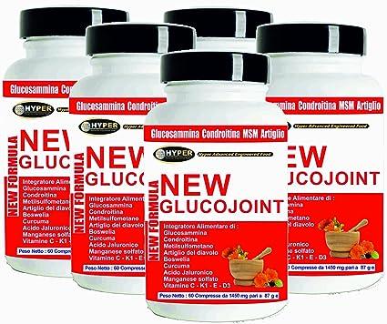 Glucosamina Coindroitina MSM Acido Hialuronico Cúrcuma 5 BOX 60 Comprimidos Suplementos Dolores en las Articulaciones Osteoartritis