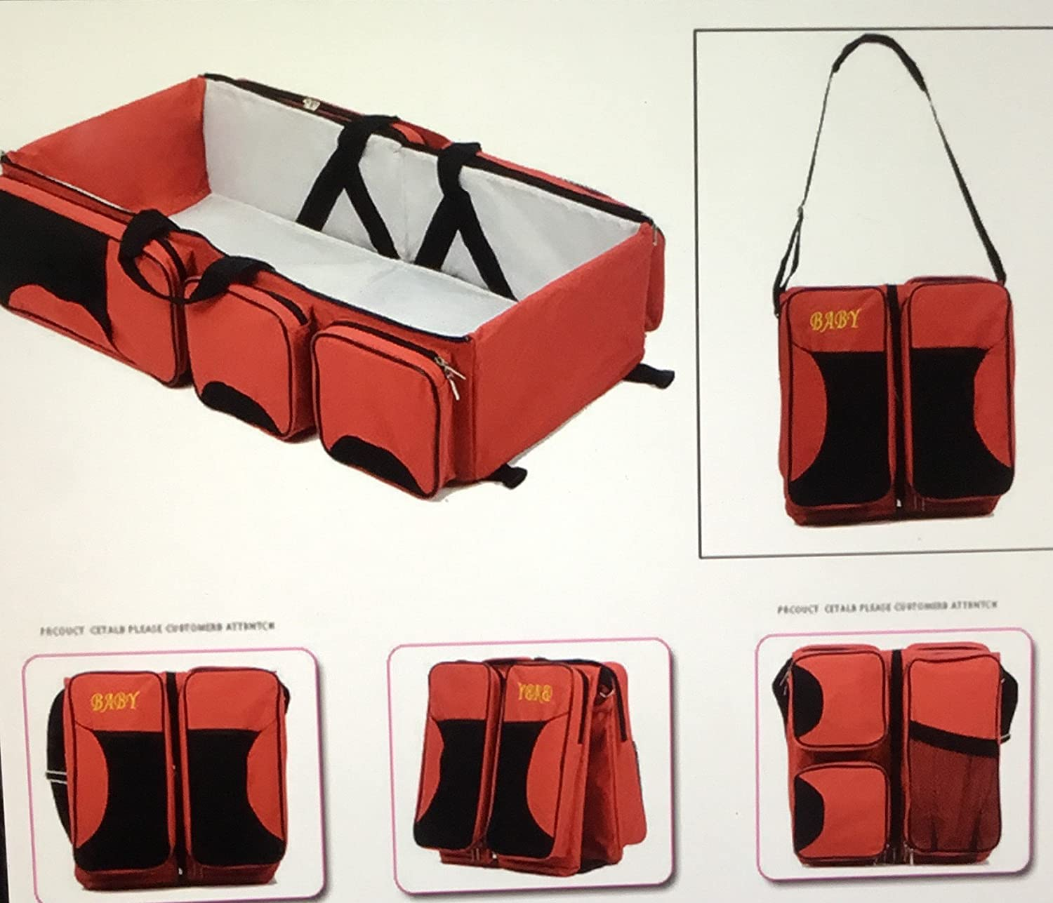 Baby's Three in one Bassinet Cot/Baby Bag (RED)