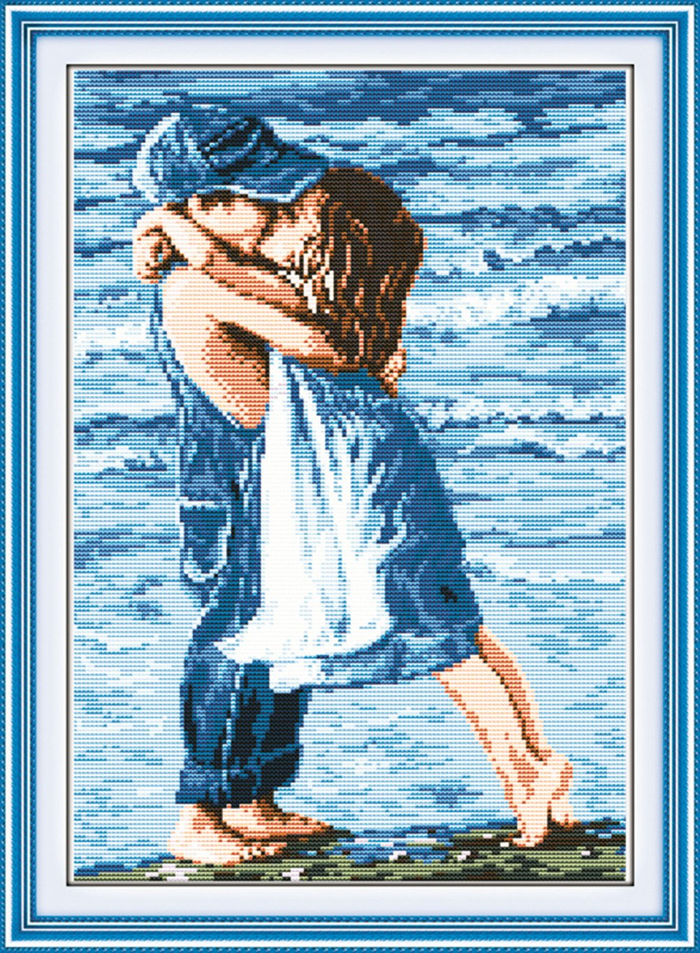 Joy sunday Stamped Cross Stitch Starter Kits Beginners Cross-Stitching Accurate Pre-printed Pattern picture printed R776 Frameless Old Two Mouth Grow Old Together 11CT 22x18
