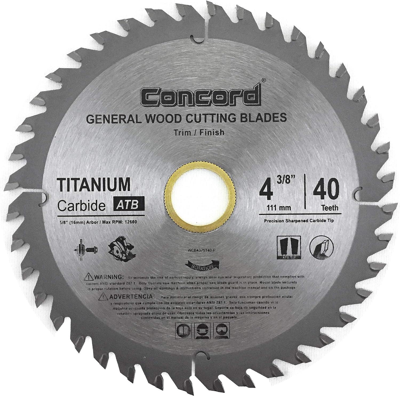 Concord Blades WCB0438T040HP 4-3/8-Inch 40 Teeth TCT General Purpose Hard & Soft Wood table Saw Blade