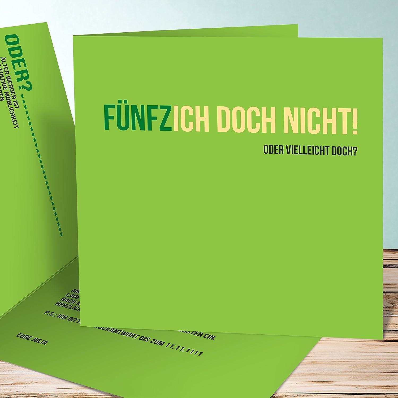 Originelle Einladung 50 Geburtstag, Einladungskarten Fünfzich 5 Karten,  Quadratische Klappkarte 145x145 Inkl. Weiße Umschläge, Grün: Amazon.de:  Küche U0026 ...