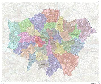 Detailed Map Of London.Greater London Authority Boroughs Administration Wall Map Double Side Laminated