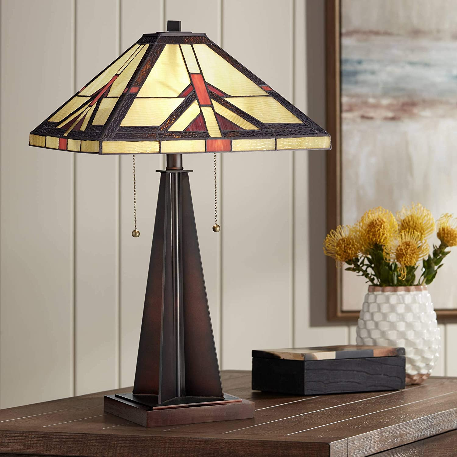 Cascade Rustic Accent Table Lamp Bronze Tiffany Style Stained Art Glass Shade for Living Room Bedroom Bedside Nightstand Office Family - Robert Louis Tiffany