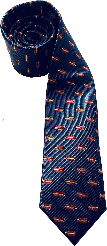 Corbata azul oscuro a rayas con banderas de España, Pietro Baldini, : Amazon.es: Ropa y accesorios