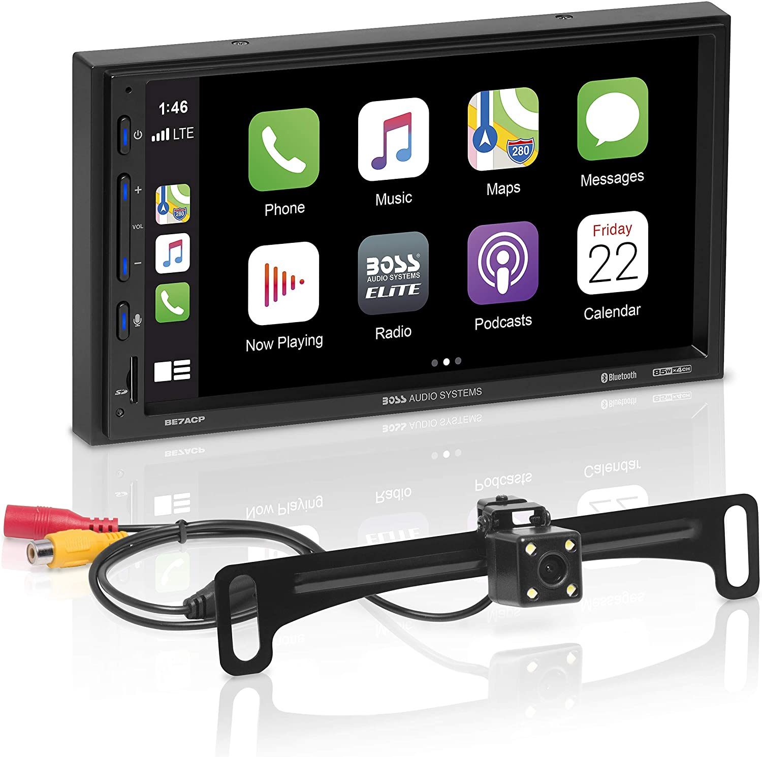 BOSS Audio Systems Elite BE7ACP-C Car Multimedia Player with Apple CarPlay Android Auto - 7 Inch Capacitive Touchscreen, Double Din, Bluetooth, No CD/DVD, USB, SD, AV In, AM/FM, Backup Camera Included