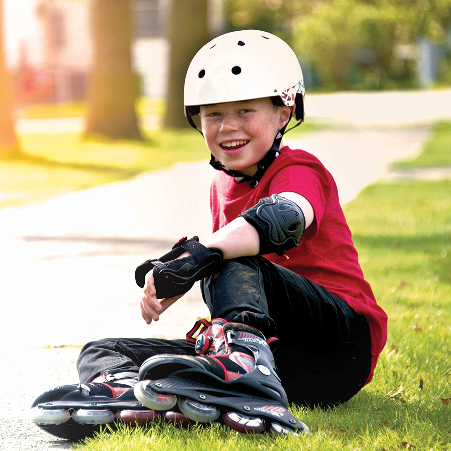 TUOY Kids Youth Elbow Knee Pads Padded Compression Arm Knee Sleeve for Football Basketball Baseball Soccer Protector Gear 1 Pair