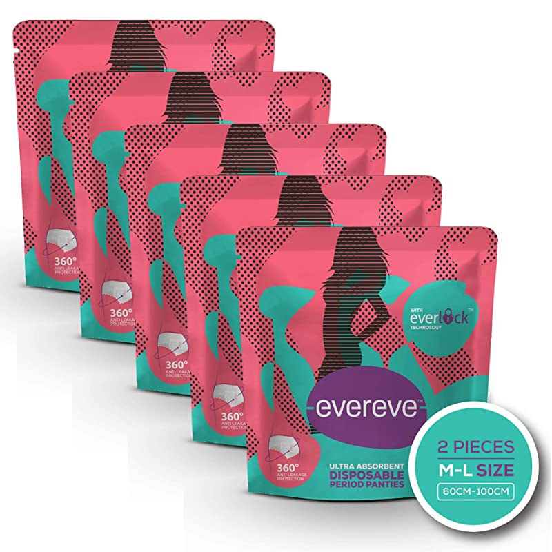 EverEve Ultra Absorbent, Heavy Flow Disposable Period Panties for Sanitary Protection, M-L (Pack of 5) (10 Pcs)