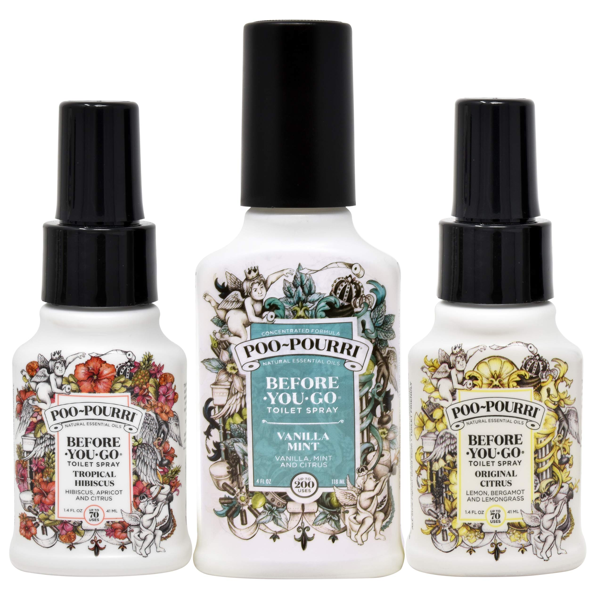 Poo-Pourri Vanilla Mint 4 Ounce, Tropical Hibiscus 1.4 Ounce and Original Citrus 1.4 Ounce