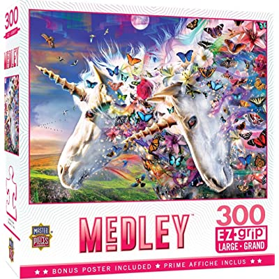 MasterPieces Medley - Unicorns & Butterflies 300-Piece EZ Grip Jigsaw Puzzle: Toys & Games