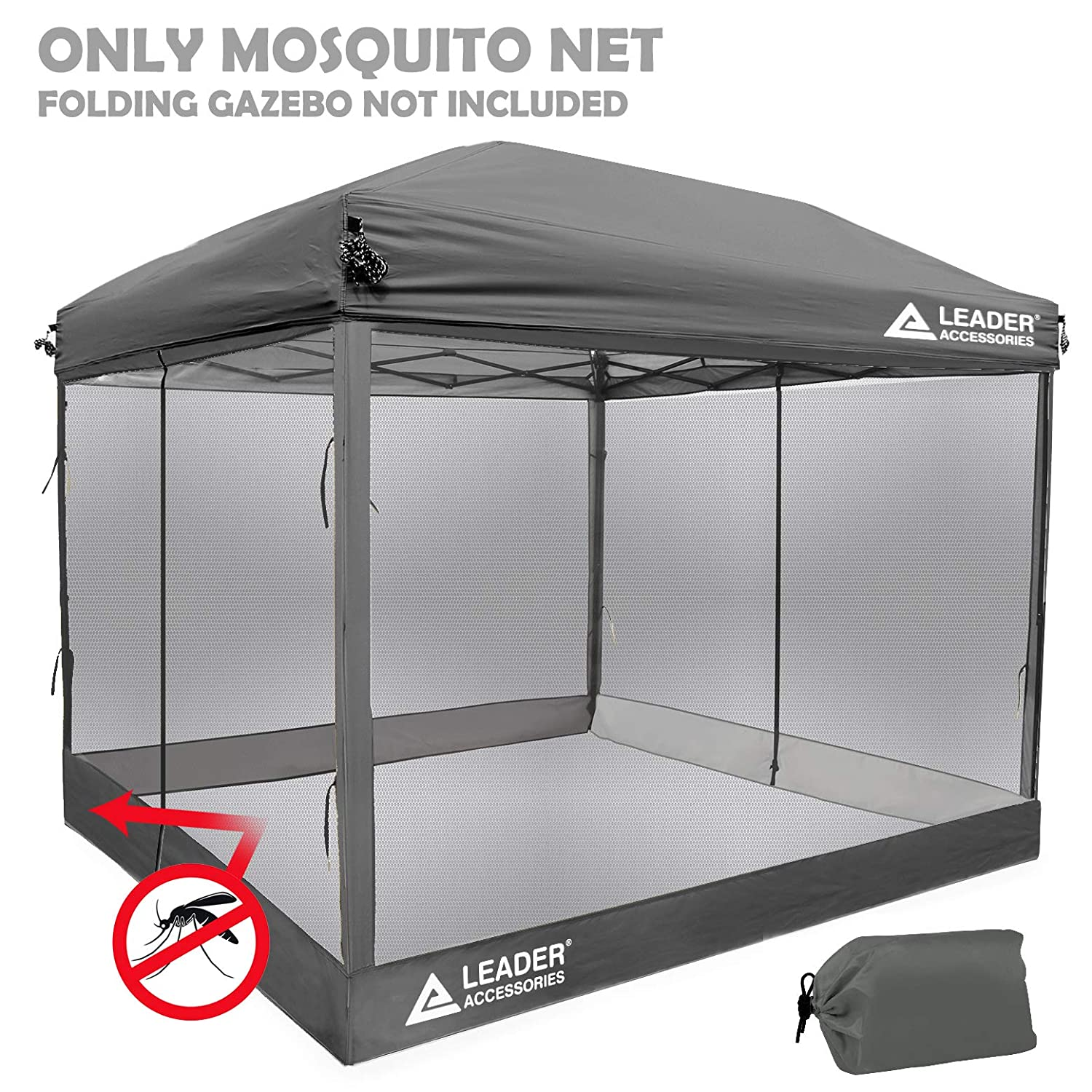 competitive price b4363 403e4 Leader Accessories Mesh Screen Zippered Wall Panels for 10' x 10' Canopy  (Tent Walls Only, Frame and Top Not Included) (Grey mesh Wall)