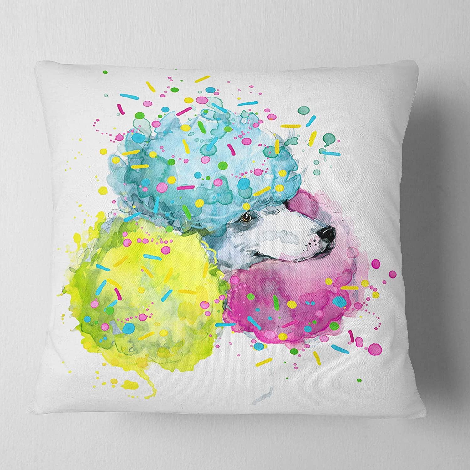 26 in Pillow Insert Designart CU13242-26-26 Cute White Dog with Color Spheres Contemporary Animal Throw Cushion Pillow Cover for Living Room Sofa Cushion Cover Printed on Both Side x 26 in