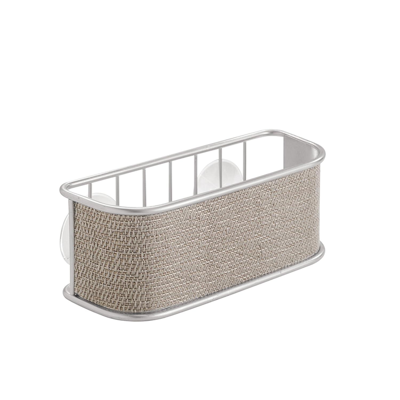 InterDesign Twillo Portaspugne | Cestino pensile ideale per spugne, pagliette e molto altro | Porta spugne cucina con ventose | Metallo argento 70912