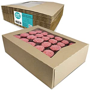 [18 Pack] Kraft Cake Box With Window 14x10x4 inches - Auto-Popup Cardboard Gift Packaging For Cupcake, Donut, Cookies and Pastry, Bakery Packaging Containers, Restaurant Display and Personalized Favors