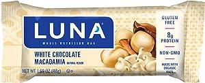 Clif Bar LUNA BAR - Gluten Free Bars - White Chocolate Macadamia Flavor - (1.69 Ounce Snack Bars, 15 Count)