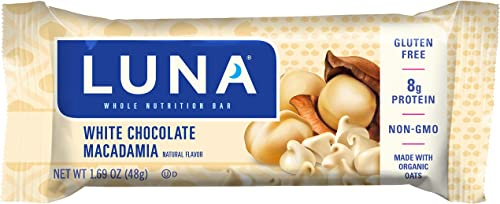 Luna BAR – Gluten Free Snack Bars – White Chocolate Macadamia Flavor – 1.69 Ounce Snack Bar, 6 Count