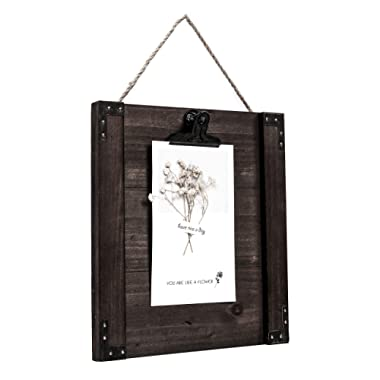 Space Art Deco Distressed Brown Clip Photo Holder - Fit for One 5x7 or 4x6 Picture - Rustic Design - Wall Display - Raised Sides - Back Hanging Rope - Rustic Style - Boho Chic - Sign Display frame