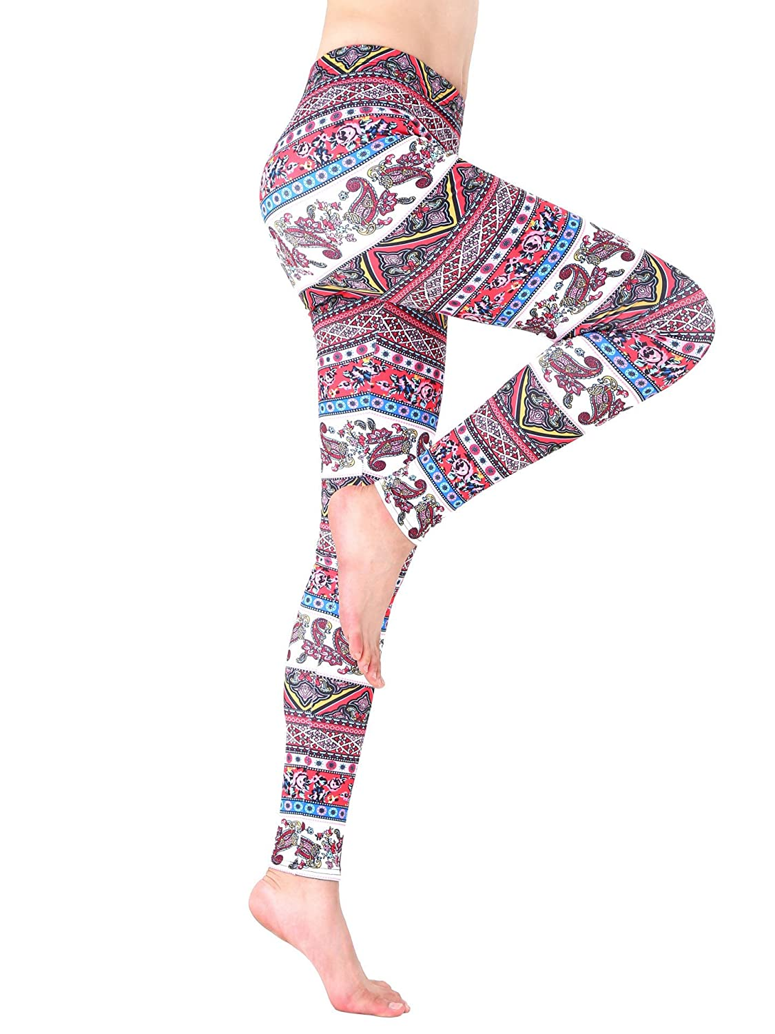 AMORETU Womens Stretch Multicoloured Printed Xmas Snowflake Leggings Pants