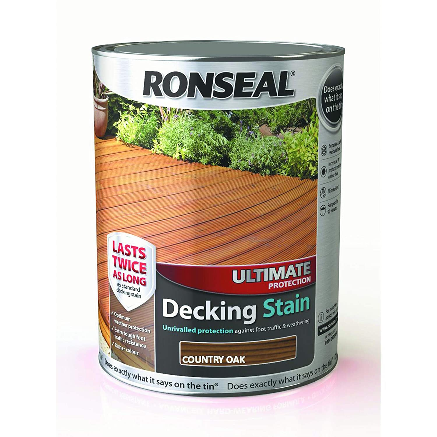 Ronseal Ultimate Protection Decking Stain Walnut 5L Sherwin-Williams 37457