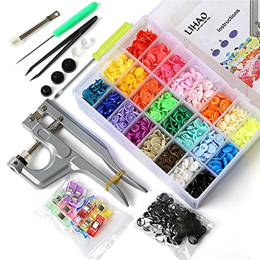 134 opinioni per LIHAO 375PCS Bottoni a Pressione in Resina T5(12mm) 24 Colori in Plastica + Kit