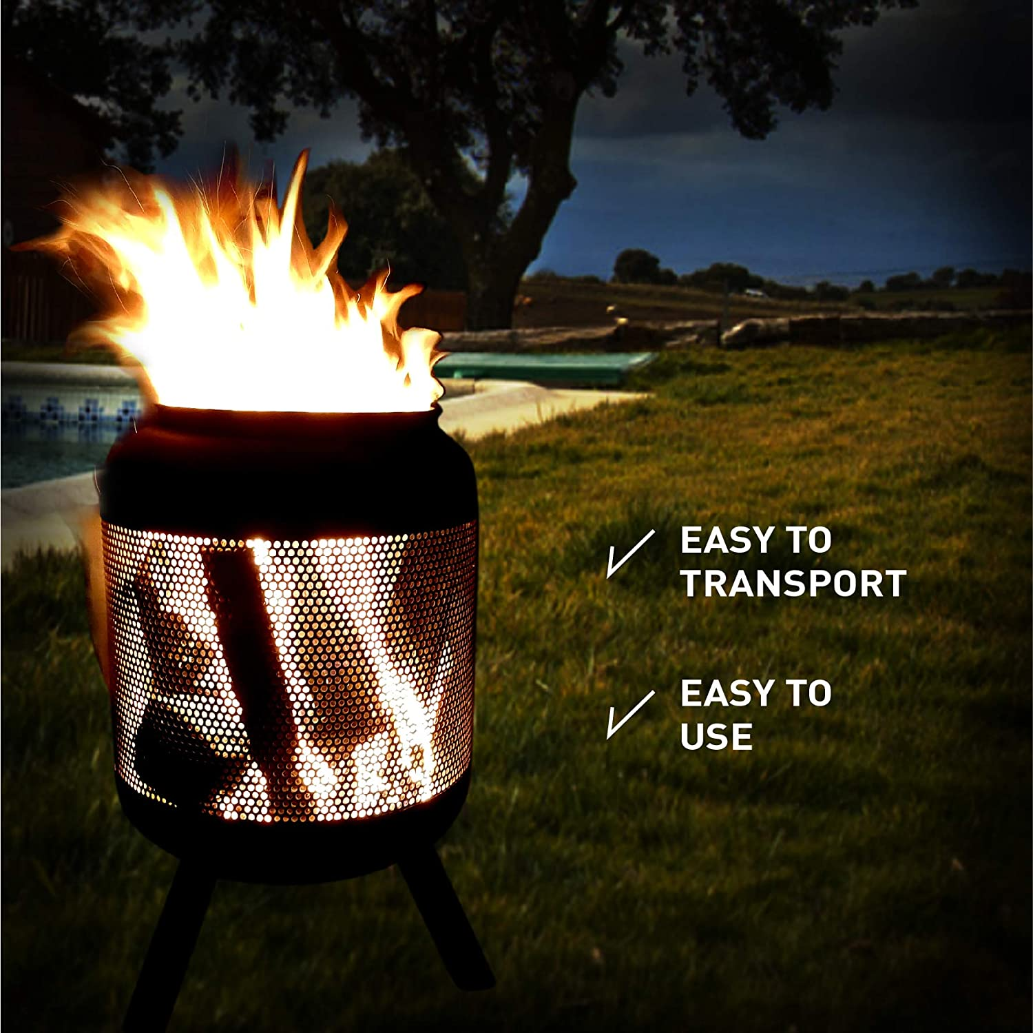 EasyGoProducts EGP-GARD-021 EasyGo Product Camping Patio Outdoor Fire Pit – Washing Machine Shaped, Steel with Black Finish