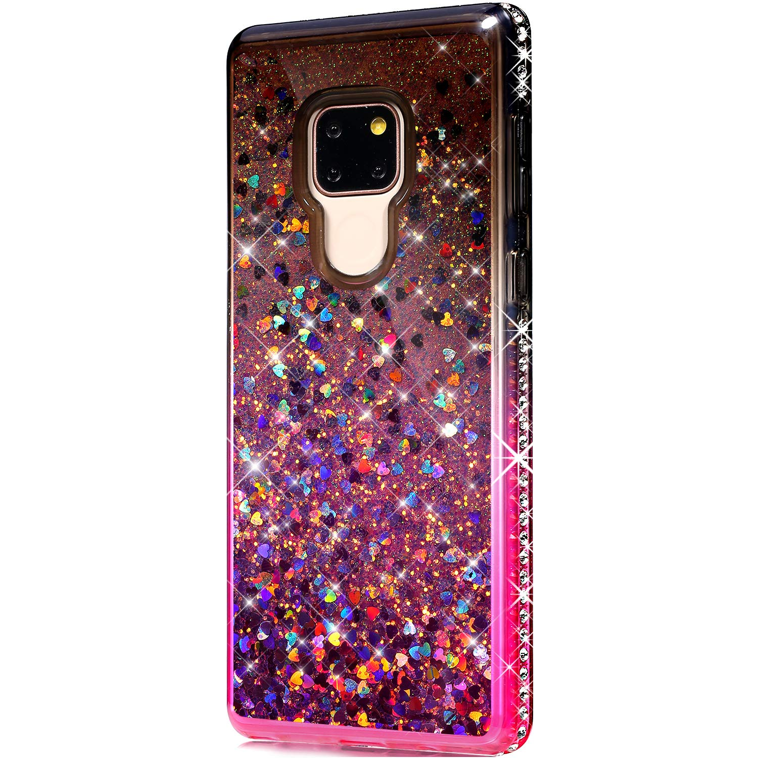 Case for Huawei Mate 20,Girls Women Flowing Floating Liquid Quicksand Bling Glitter Sparkle Rhinestone Diamond Bumper Soft Gradient Color TPU Case Cover for Huawei Mate 20 Bling Case,Black Pink by ikasus