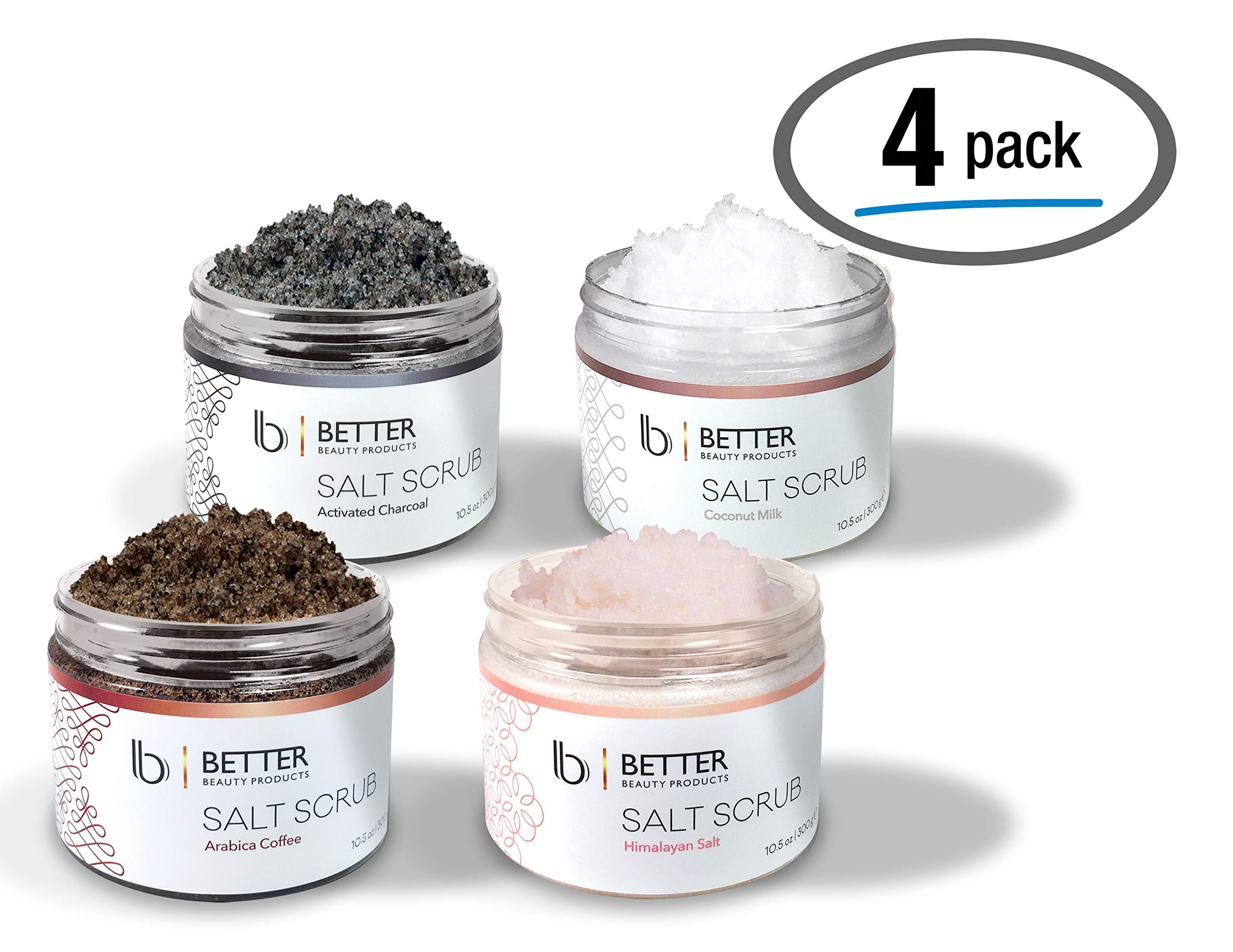 4 Pack Body Salt Scrubs by Better Beauty Products, Coconut Milk, Himalayan Salt, Arabica Coffee, Activated Charcoal SCRUBS, 10.5 oz Each, All In One Complete Body Scrub Pack