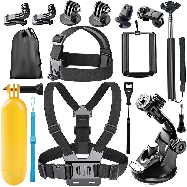Followsun 15-In-1 Action Camera Accessories Kit Compatible with GoPro Hero/ Session/Hero 6 5 4 3+ 3 2 1 Campark ACT74 AKASO EK7000 Crosstour APEMAN DBPOWER FITFORT ENEK Acko Lightdow Sony Sports DV