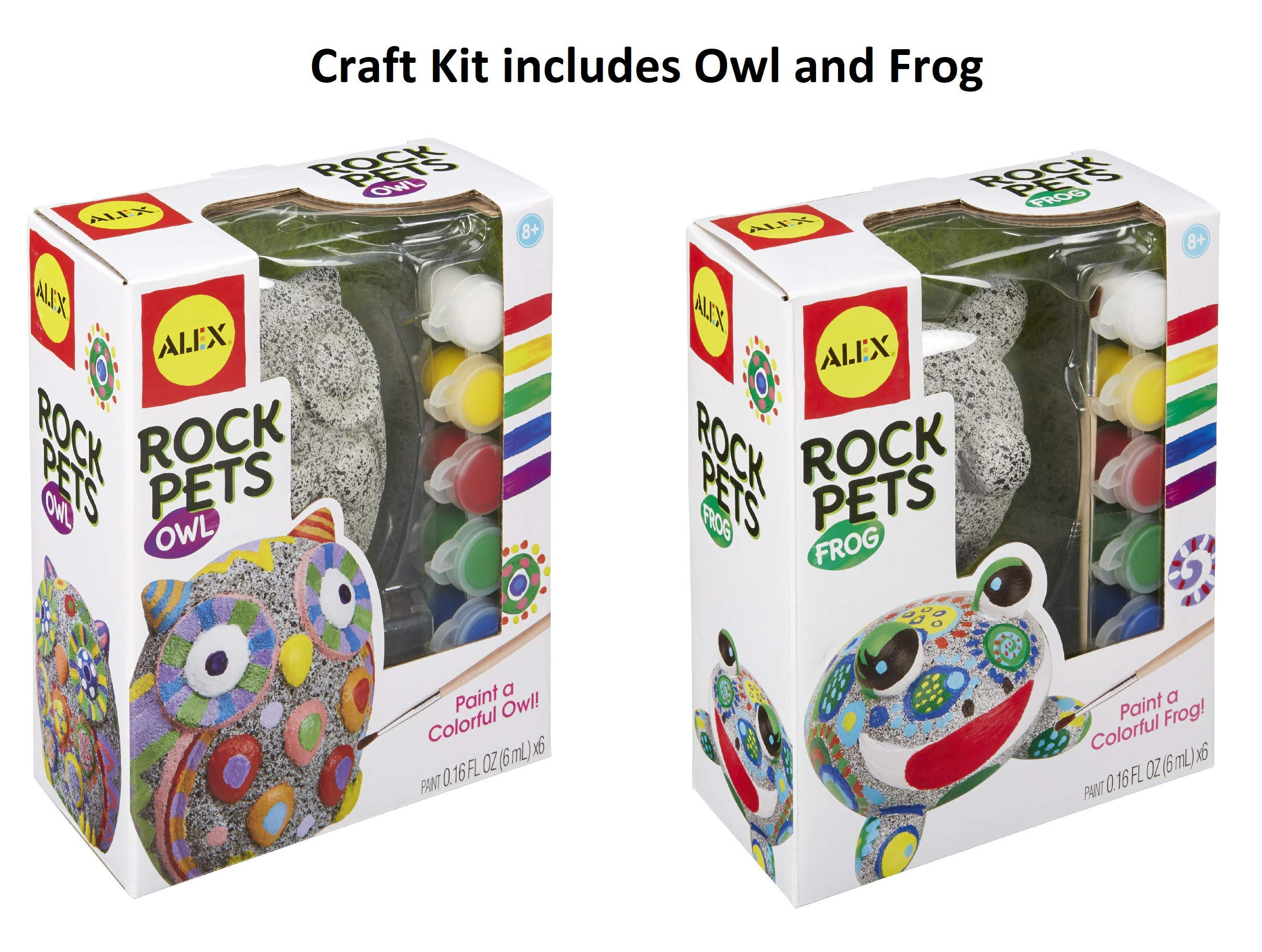 Alex Toys Craft Paint-a-Rock Pet Kits with 6 Weather-Resistant Paints, Paintbrush and Instructions in Each kit - Owl and Frog Pet Rocks Included in This Craft Pack