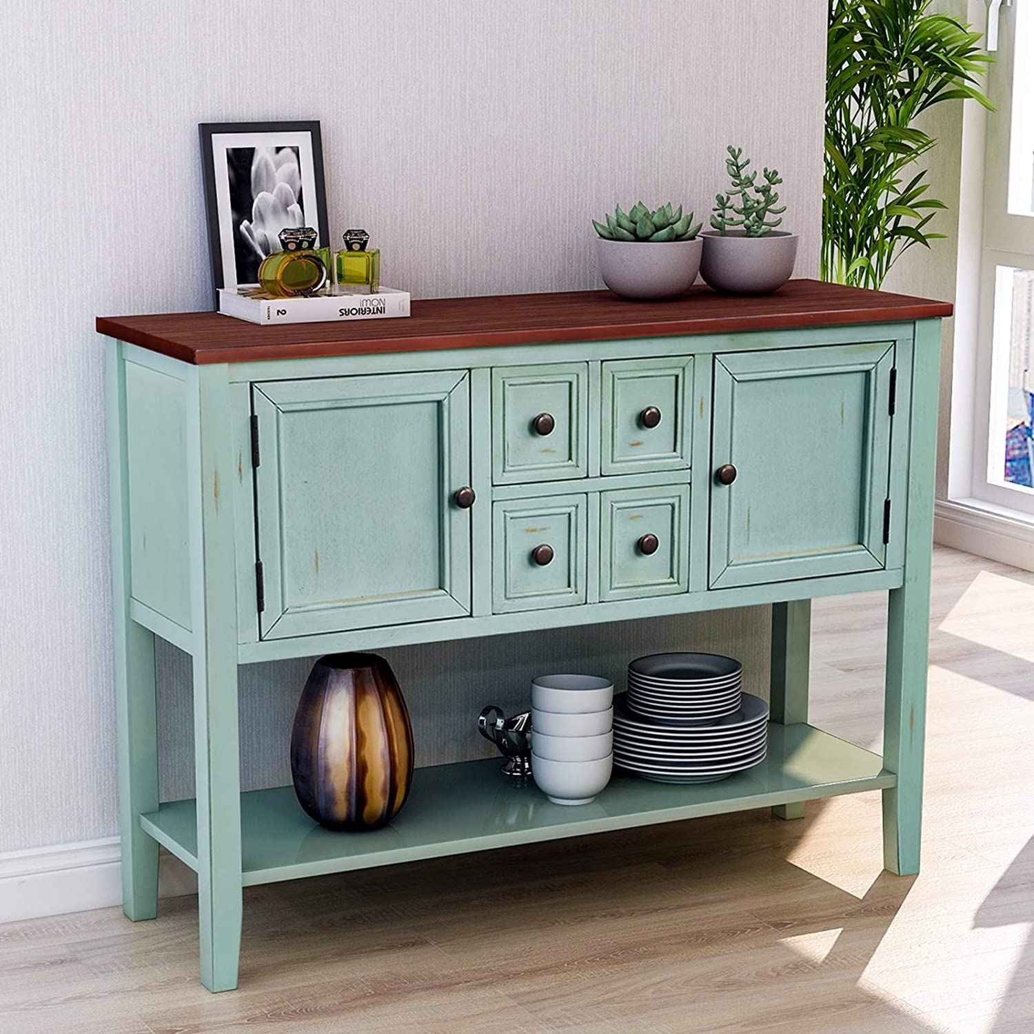 P PURLOVE Console Table Buffet Table with Storage Drawers Cabinets and Bottom Shelf (Antique Blue)