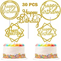 30 Pieces Glitter Happy Birthday Cake Topper Birthday Cupcake Topper Colorful Cake Decorations for Birthday Party Supply…